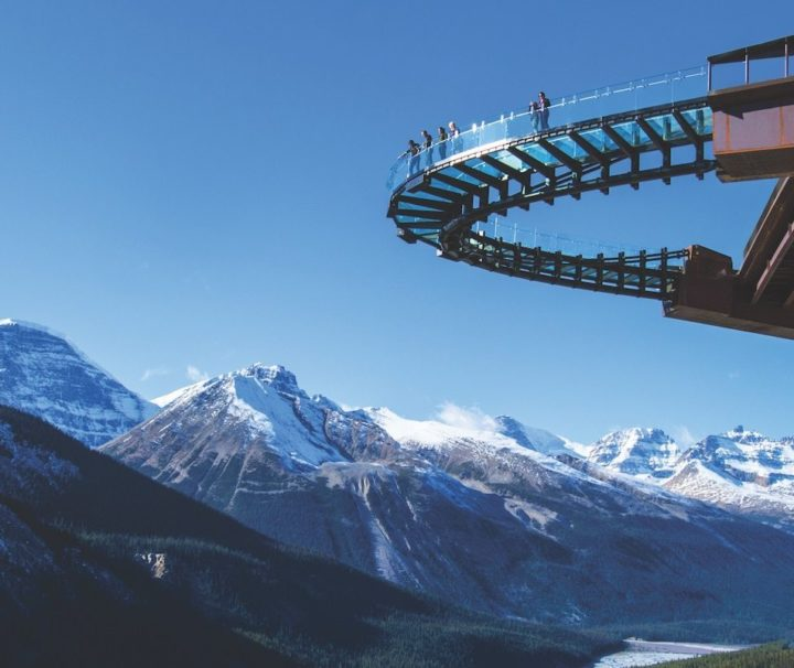 Walk on the glass floor Glacier Skywalk on the Icefield Parkway Tour with Discover Banff Tours