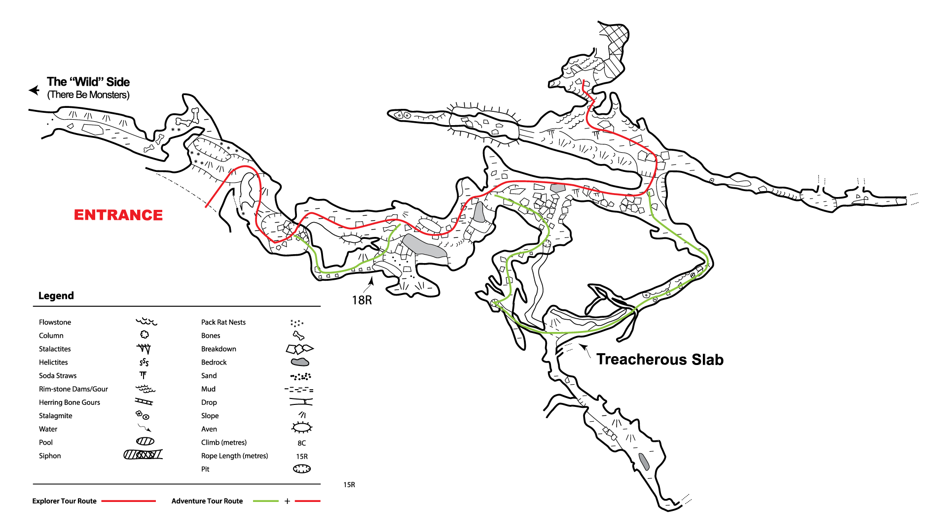 Rat's Nest Map of Canmore Cave Tours