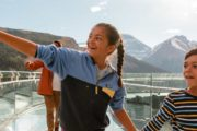 Children love the Glacier Skywalk views on the Icefields Parkway Tour