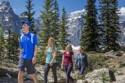 Walking up the Rockpile at Moraine Lake with Discover Banff Tours