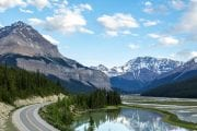 Drive along the scenic Icefields Parkway on the Columbia Icefields Parkway Tour with Discover Banff Tours in the Canadian Rockies