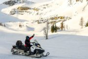 Enjoy free time in the Powder Bowl on the Paradise Basin snowmobiling tour in the Canadian Rockies