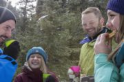 Enjoy hot chocolate and maple cookies on an icewalk with Discover Banff Tours