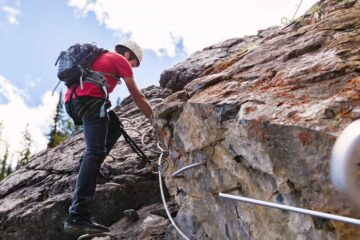 Experience guided alpine climbing on the Mount Norquay Via Ferrata Explorer Route at Banff Mt Norquay