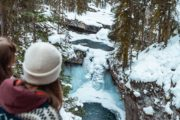 Frozen Twin Falls on the Johnston Canyon Icewalk with Discover Banff Tours