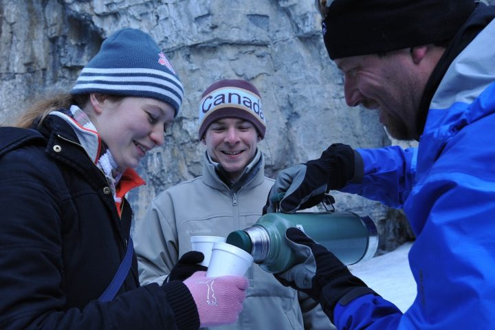 Hot chocolate on the Grotto Canyon Icewalk with Discover Banff Tours