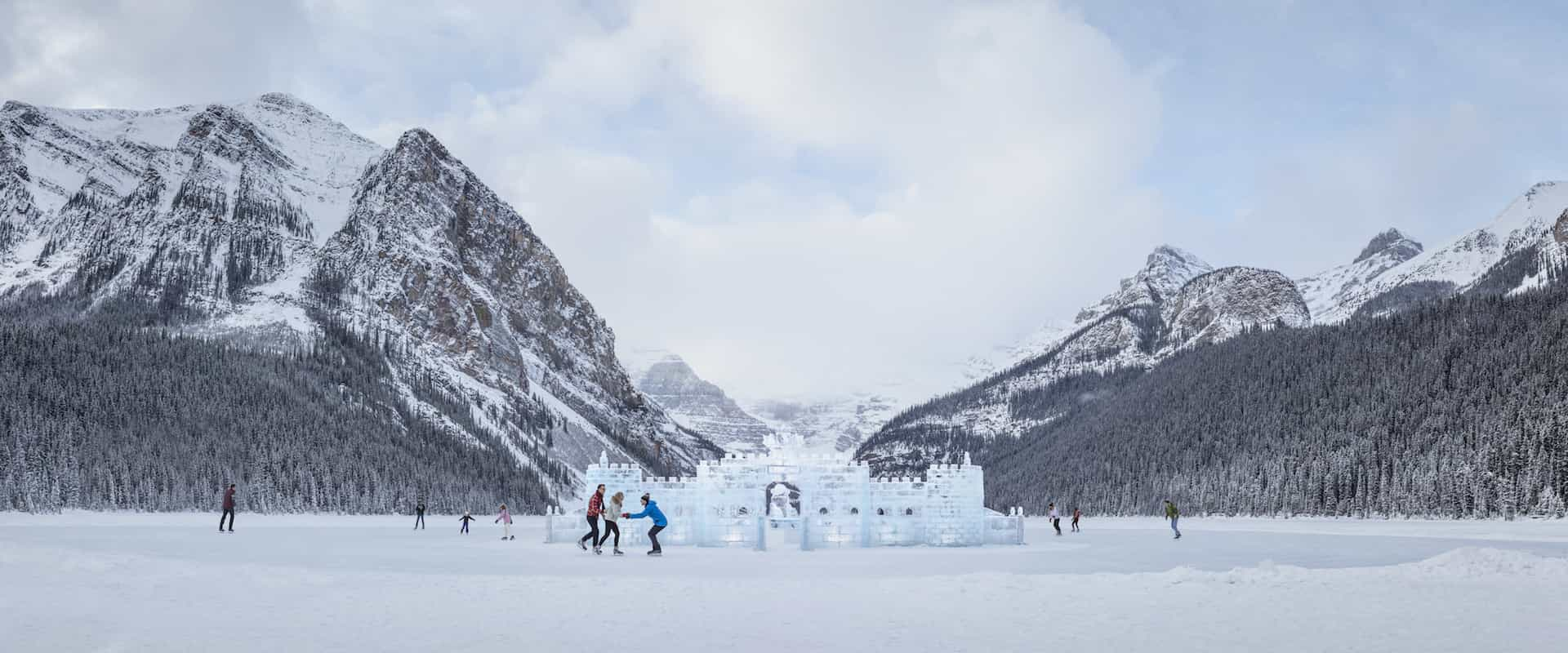 Ice skate on Lake Louise on the winter Discover Lake Louise Tour with Discover Banff Tours