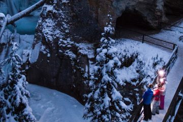 Johnston Canyon Evening Icewalk with Discover Banff Tours