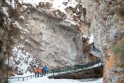 Hike on catwalks at Johnston Canyon on a guided icewalk with Discover Banff Tours