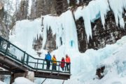 See the frozen upper falls on the Johnston Canyon Icewalk with Discover Banff Tours