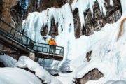 Johnston Canyon Upper Falls Viewpoint on a guided icewalk with Discover Banff Tours