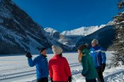 Learn about Lake Louise from your friendly guide on the Discover Lake Louise winter tour with Discover Banff Tours in the Canadian Rockies