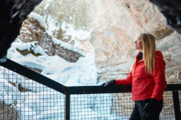 Lower Falls Cave on the Johnston Canyon Icewalk with Discover Banff Tours
