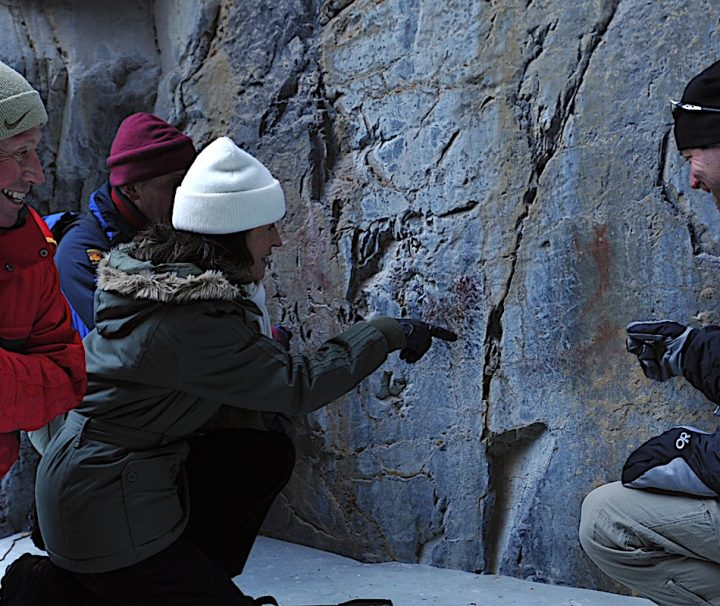See Pictographs on the Grotto Canyon Icewalk with Discover Banff Tours