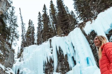 See Johnston Canyon's frozen upper falls on a guided icewalk with Discover Banff Tours