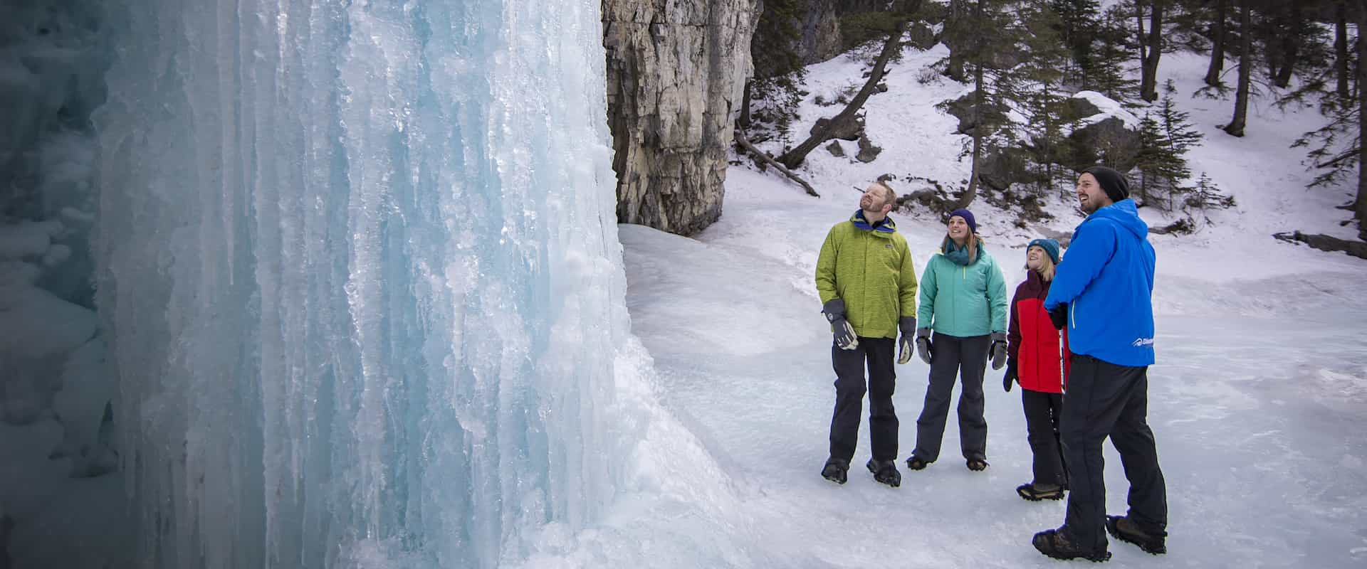 See frozen waterfalls on the Grotto Canyon Icewalk with Discover Banff Tours