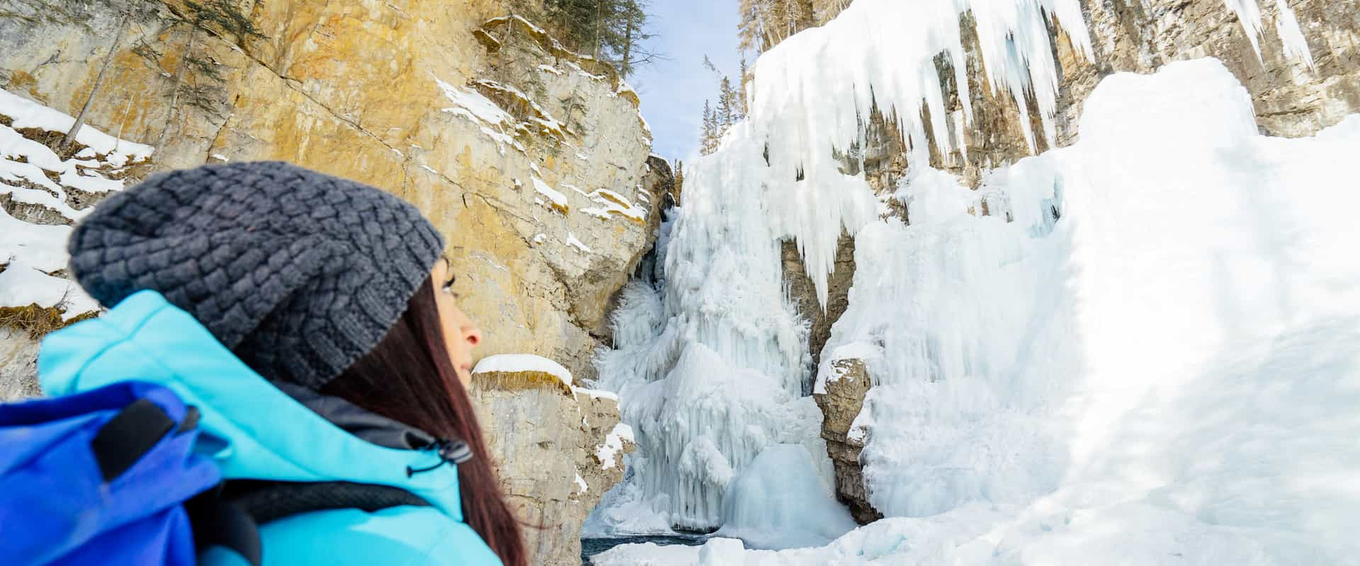 See frozen waterfalls on the Johnston Canyon Icewalk with Discover Banff Tours