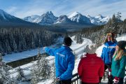 See spectacular sightseeing stops along the Bow Valley Parkway on the Discover Lake Louise winter tour with Discover Banff Tours in the Canadian Rockies