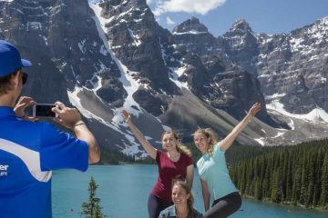 See turquoise Moraine Lake and the Valley of Ten Peaks on the Lake Louise and Moraine Lake Tour with Discover Banff Tours