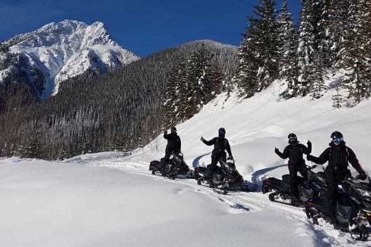 Snowmobiling Tour in Golden with Discover Banff Tours in the Canadian Rockies