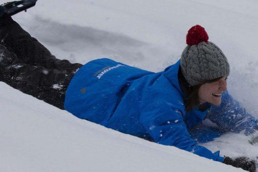 Snowshoeing at Paint Pots Crazy Carpet Slide