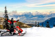 Stunning views on a full day Paradise Basin snowmobiling tour in the Canadian Rockies