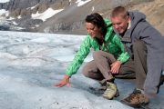 Touch an ancient glacier on the Icefields Parkway Tour with Discover Banff Tours