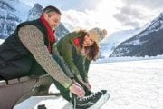 Try ice skating at Lake Louise on the DIscover Lake Louise winter tour with Discover Banff Tours in the Canadian Rockies