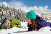 Try snowshoeing at Lake Louise on the Discover Lake Louise winter tour with Discover Banff Tours in the Canadian Rockies
