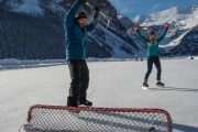 Win at ice hockey on the Discover Lake Louise winter tour with Discover Banff Tours in the Canadian Rockies