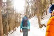 Winter hike at Johnston Canyon on an icewalk with Discover Banff Tours