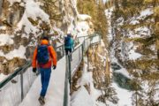 Winter icewalk at Johnston Canyon in Banff with Discover Banff Tours
