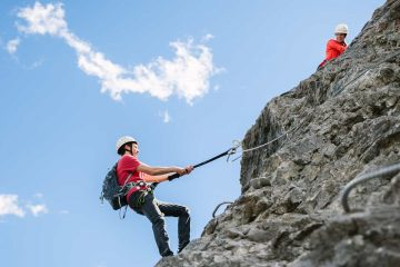 Climb several mountain buttreses on Mount Norquay's Via Ferrata Ridgewalker Route in Banff in the Canadian Rockies