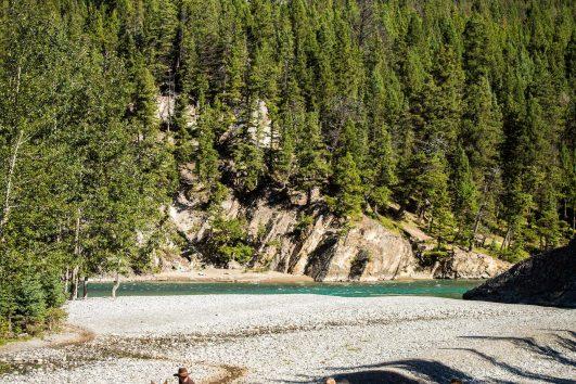 Crossing Spray River Horseback Banff Trail Riders