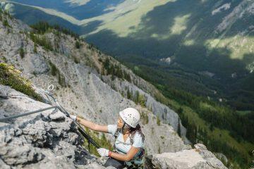 Guided alpine climbing on Mount Norquay's Via Ferrata Ridgewalker Route