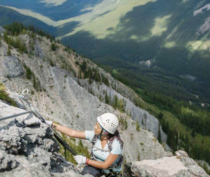 Guided alpine climbing on Mount Norquay's Via Ferrata Ridgewalker Route