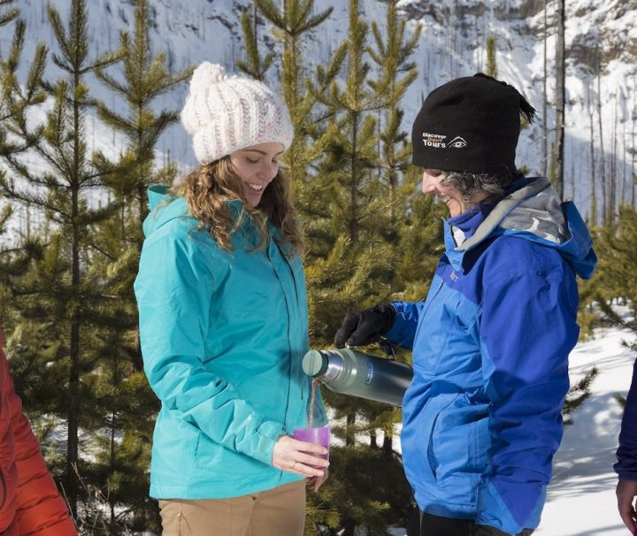 Hot chocolate on the Snowshoeing Tour to Marble Canyon with Discover Banff Tours
