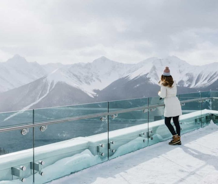 See winter views over Banff at the gondola summit