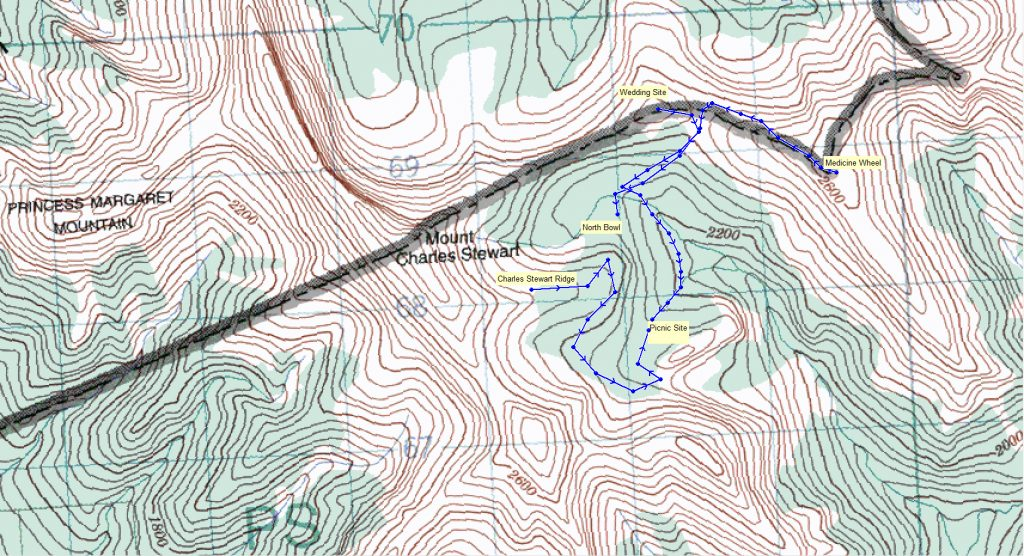 Alpine Heli and Hike Trail Map in Canmore, Canadian Rockies