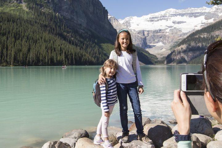 Taking Photos at Lake Louise in Summer