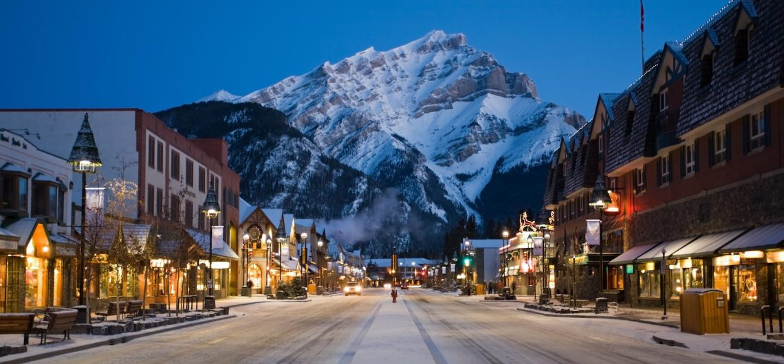 Banff Ave Main Street and Town in Winter