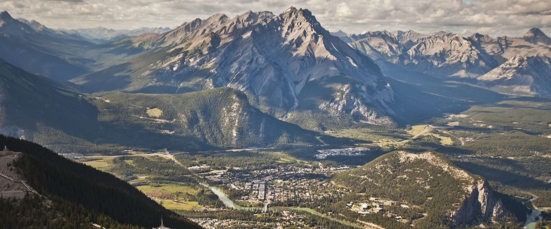 Banff National Park Aerial View with Sulphur Mountain