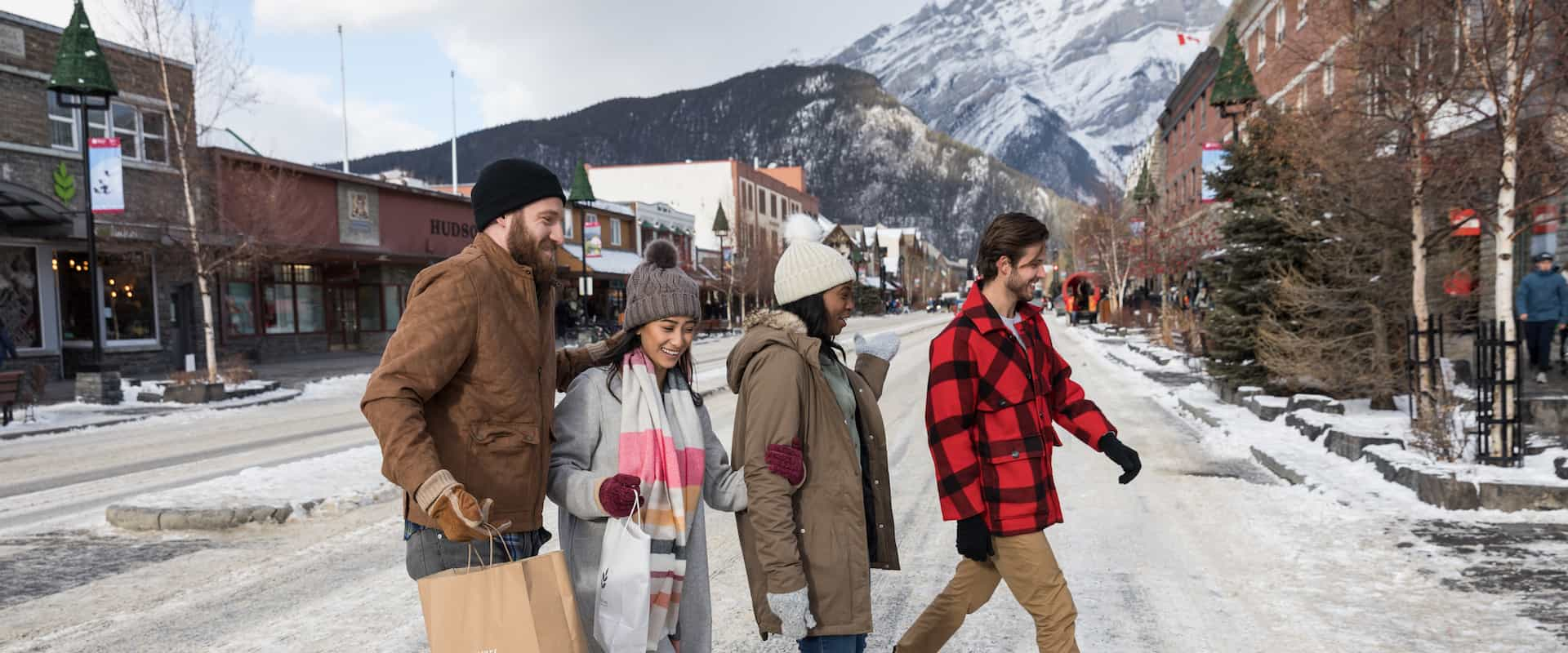 Explore downtown Banff on a shopping trip with friends