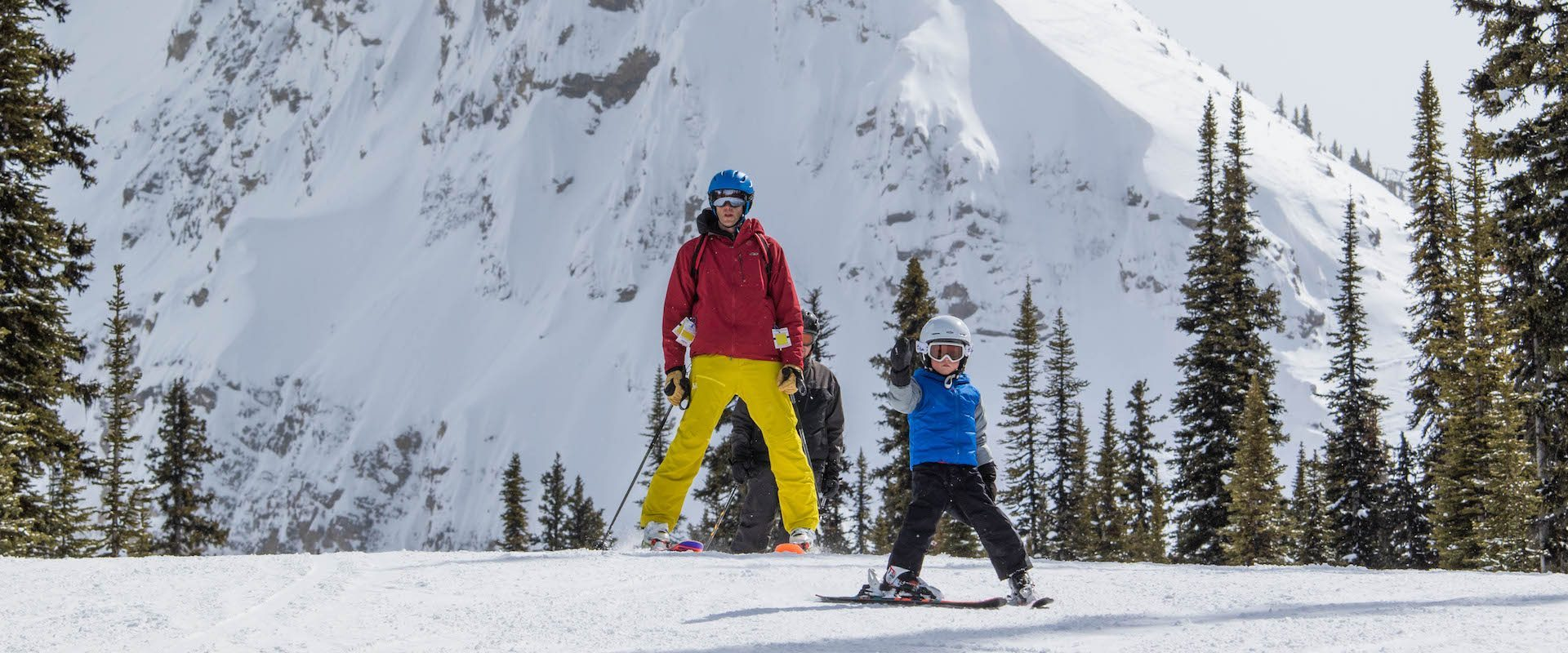 Family Skiing at Sunshine Village with Children in the Canadian Rockies