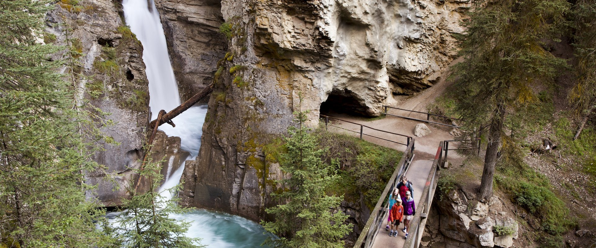 Family Hiking at Johnston Canyon