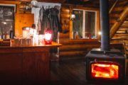 The fire at Halfway Lodge will keep you cozy and warm