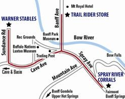 Horseback Riding Map of the Stables in Banff, Canadian Rockies