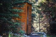 The outhouses at Halfway Lodge are meticulously cleaned