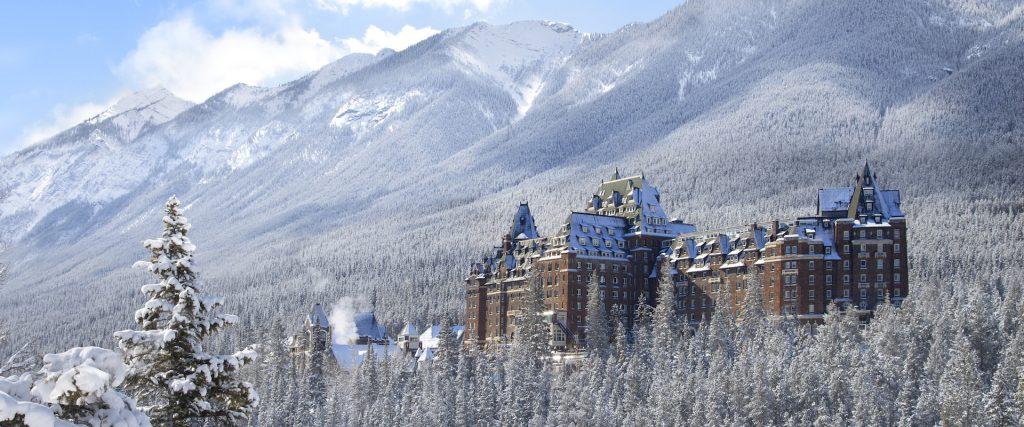 Fairmont Banff Springs Hotel in Winter from Surprise Corner