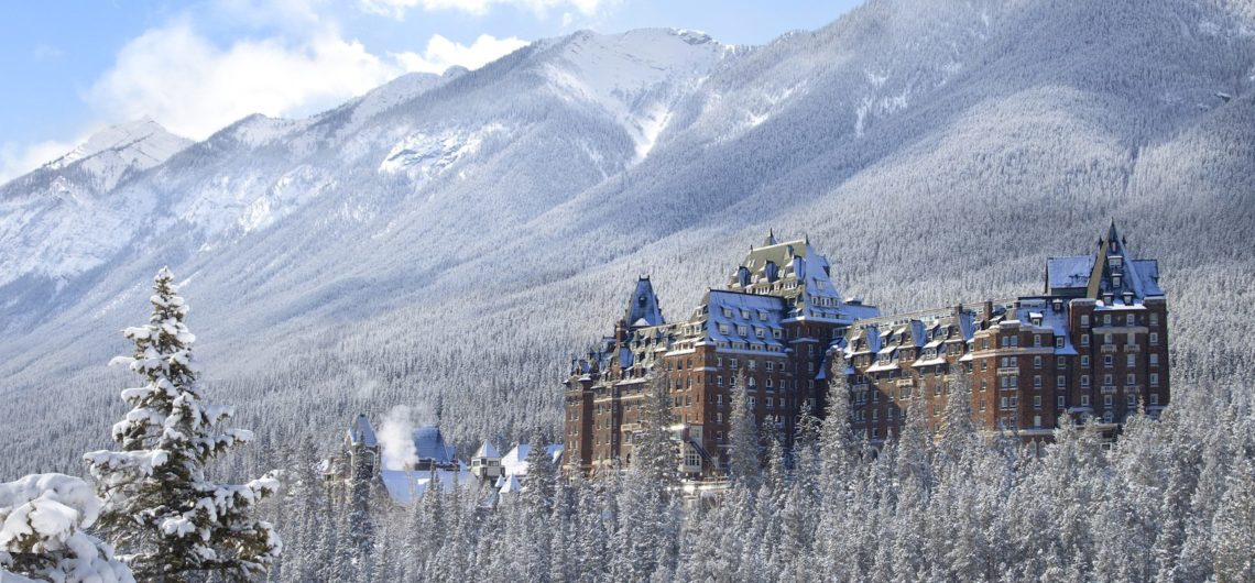 Fairmont Banff Springs Hotel in Winter from Surprise Corner